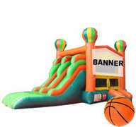 13x26 5 in 1 Balloons Theme-able Jumperwith Dual Lane Slide