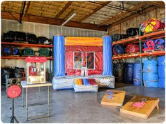 Party Package AIncludes: 10x10 bounce house, concession machine with supplies, game and a portable Bluetooth speaker.