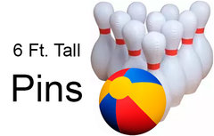 <font color=red><b>Giant Bowling (No Lane)<br></font>Best for ages 6+<br><small><font color=blue>Giant Bowling Ball and 10 6 Ft. Tall Pins