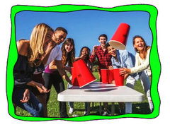 <font color=red><b>Giant Flip Cup<br></font><small>Comes w/Table and Giant Red Cups
