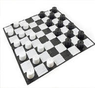 "<font color=red><b>Giant Checkers</font><small><br>Best for ages 5+<br>Huge 10"" Ft Checkboard"