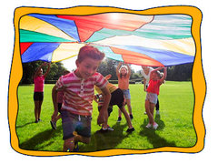 <font color=red><b>Giant Kids Parachute<br></font><small>Younger kids love this!