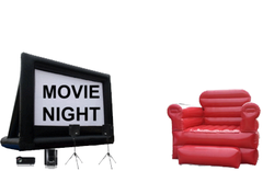 Movie Screen and Giant Red Chair Movie Night