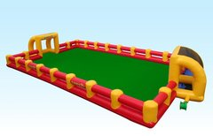 <font color=red><b>Inflatable Soccer Field<br></font>Best for ages 6+<br><font color=blue>Size 45 W x 20 D x 7 H</font>
