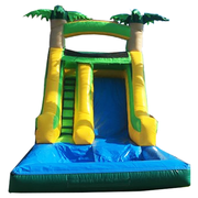 <font color=red><b>Small Tropical Water Slide w/Pool<br></font><small>Best for ages 2-10<br><font color=blue>Space Needed 24 D x 13 W x 14 H