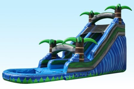 18 ft. blue tropical paradise water slide