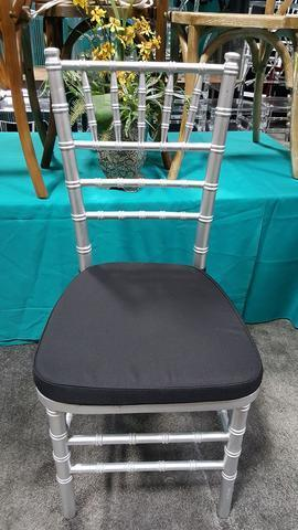Silver chiavari  Chair with black cushion