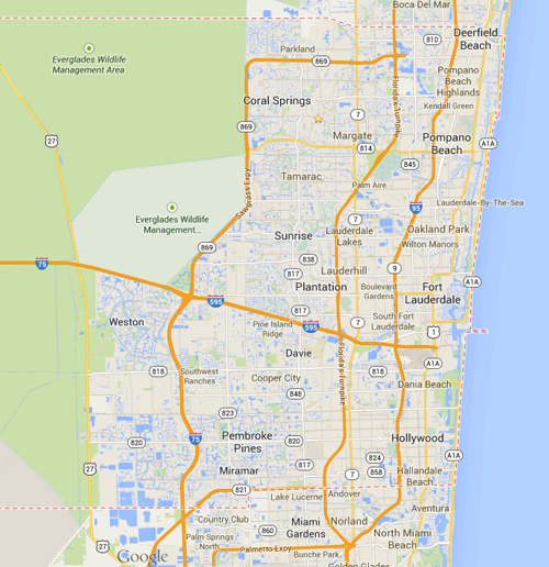 Broward Party Rental Delivery Area  Map