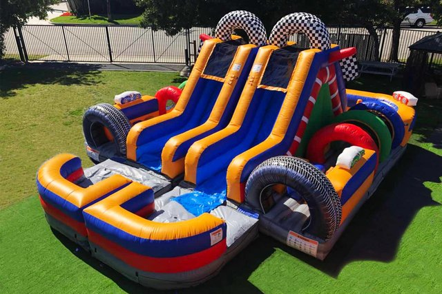 TWIN TURBO  DUAL LANE RACING OBSTACLE with Water slide