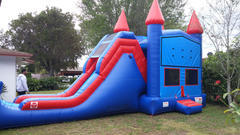 4in1 Giant Blue Castle Combo with waterslide
