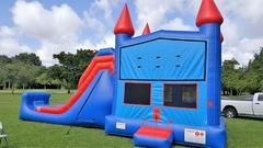 4in1 Giant Blue Castle Combo with dry slide