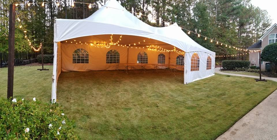 cafe lighting in a 20x40 tent