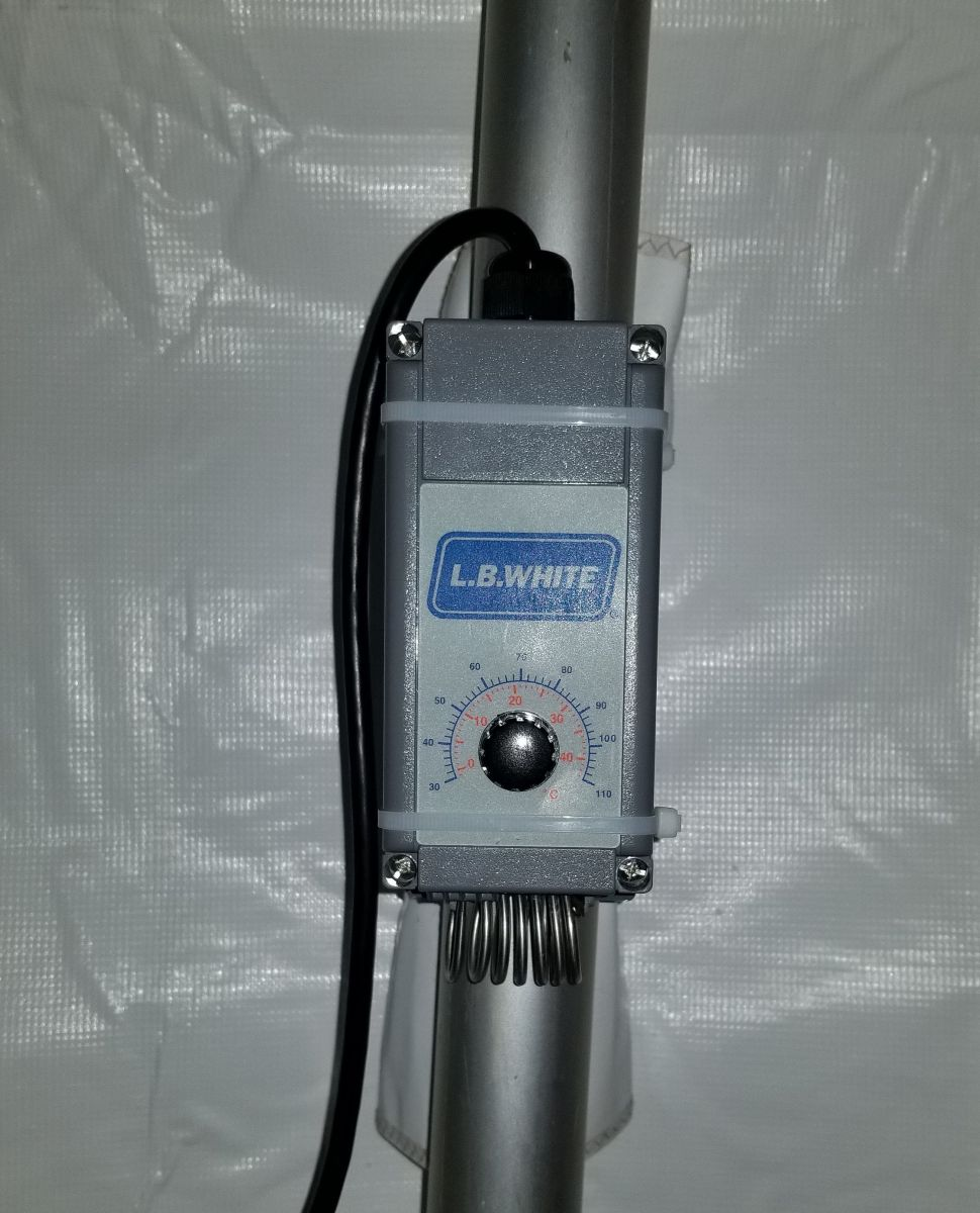 Tent heater thermostat controlled
