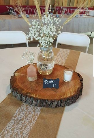 Wood Slab Centerpieces