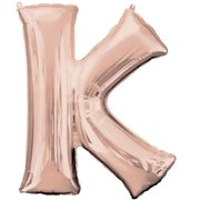 """K"" Rose Gold Letter Inflated (34in)"