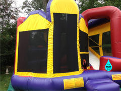 Colossal Combo 5in1 Jump Rock Wall Climb water or dry Slide Obstacles, and BBall Hoop