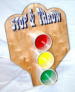 Stop And Throw with red, yellow, green bean bags/balls