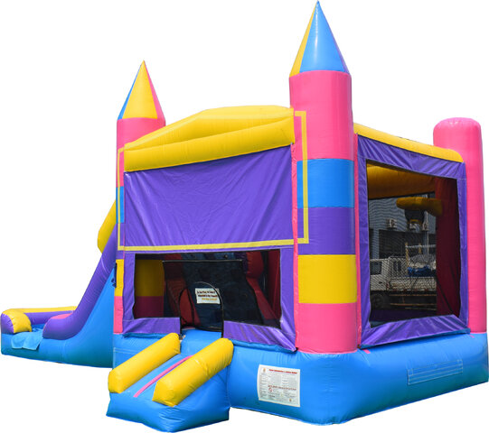 Pink Castle Combo Bounce House and Slide (Wet or Dry)