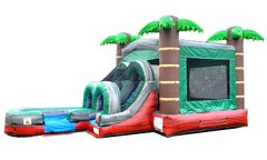 Tropical Red Marble Combo Bounce House and Slide  (Wet Or Dry)