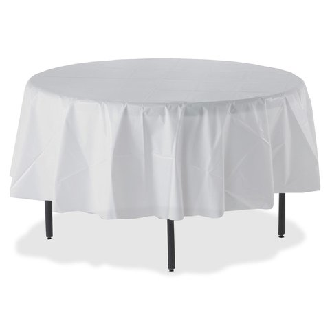 Round Table Covers (DISPOSABLE WHITE PLASTIC)