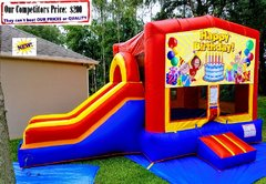 Happy Birthday Theme (Bounce House and Slide Combo)