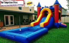 Large Castle  (Water Slide Combo with Pool & Basketball Hoop)