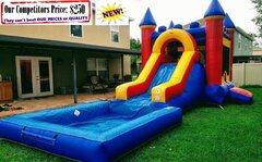<b>Large Castle  (Water Slide Combo with Pool & Basketball Hoop)