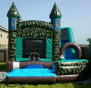 18' Camouflage Bounce House Slide Combo w Pool