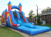 Triple Play Obstacle Bounce House Slide w Pool