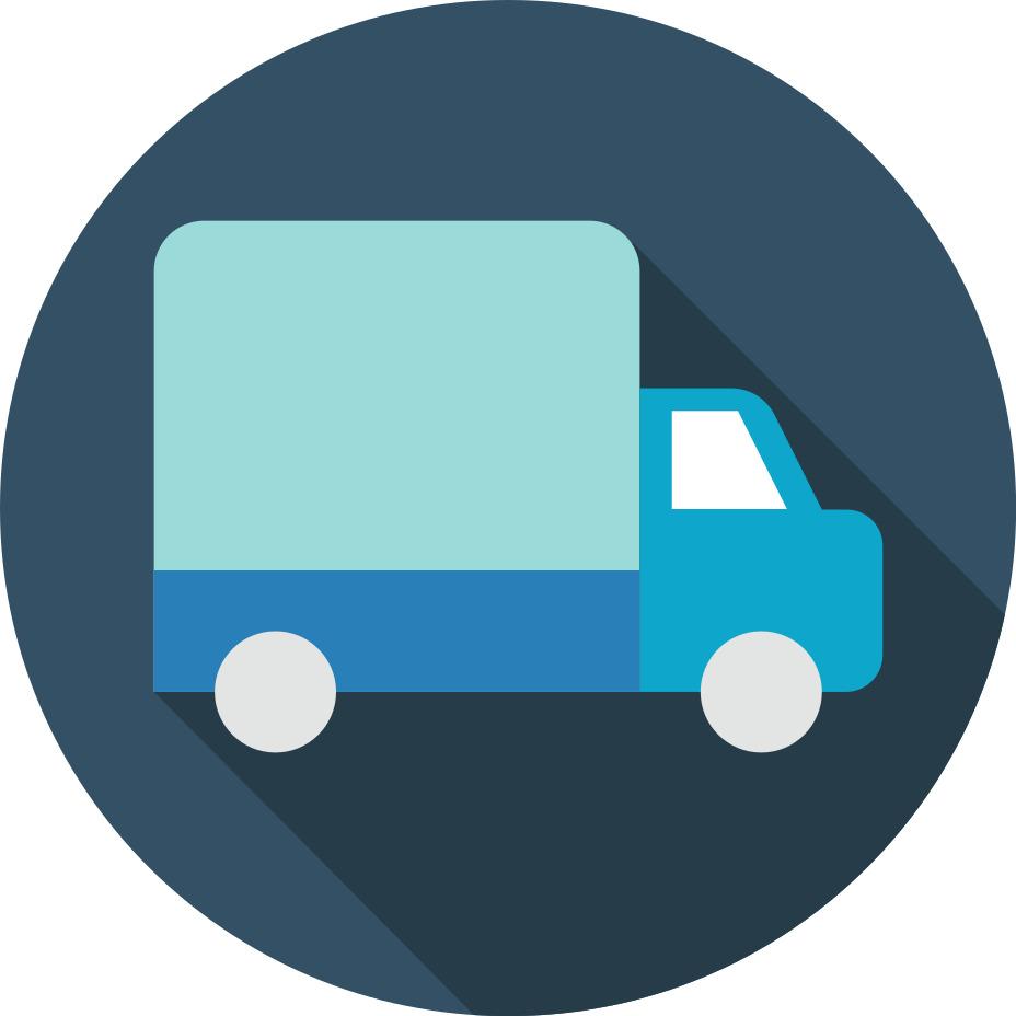Blue box truck icon
