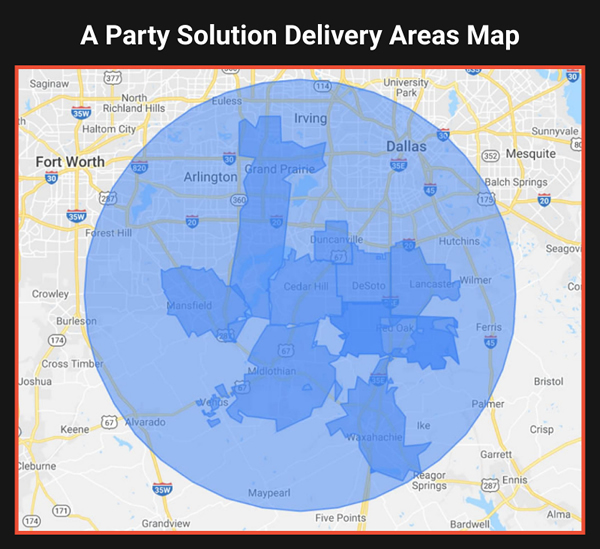 A Party Solution Bounce House and Party Rentals Delivery Areas