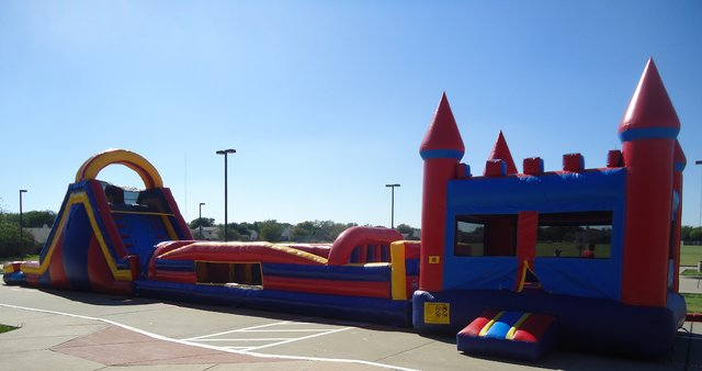 Obstacle Bounce House, Obstacle, & Double Slide- 80 ft.