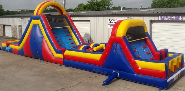 24 ft. Obstacle Course with 18 ft Dual Lane Slide