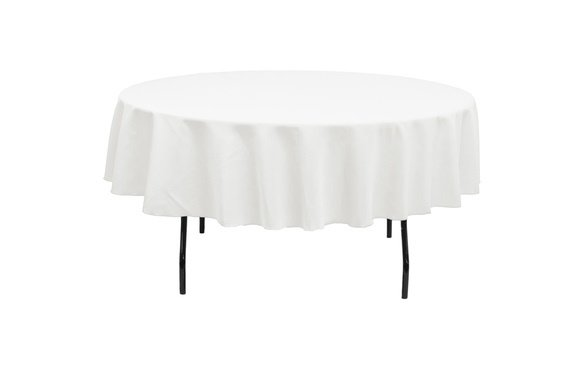90-White Table Cloth- Round (Lap)