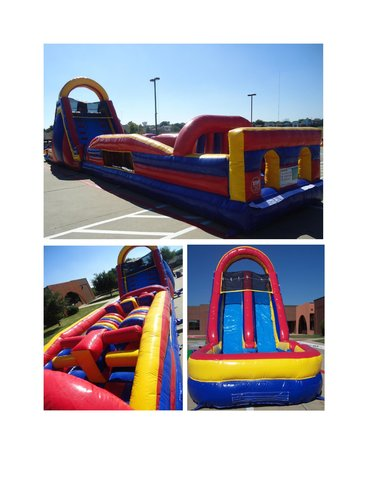 34 ft. Obstacle Course with 18 ft Dual Lane Slide