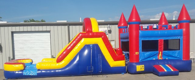 Red Castle Bounce House with 12ft. Dual Lane Slide
