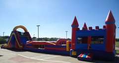 Obstacle Bounce House, Obstacle, & 18 ft Double Lane Slide- 80 ft.