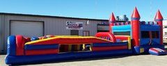 Red Castle Bounce House with 34 ft. Obstacle
