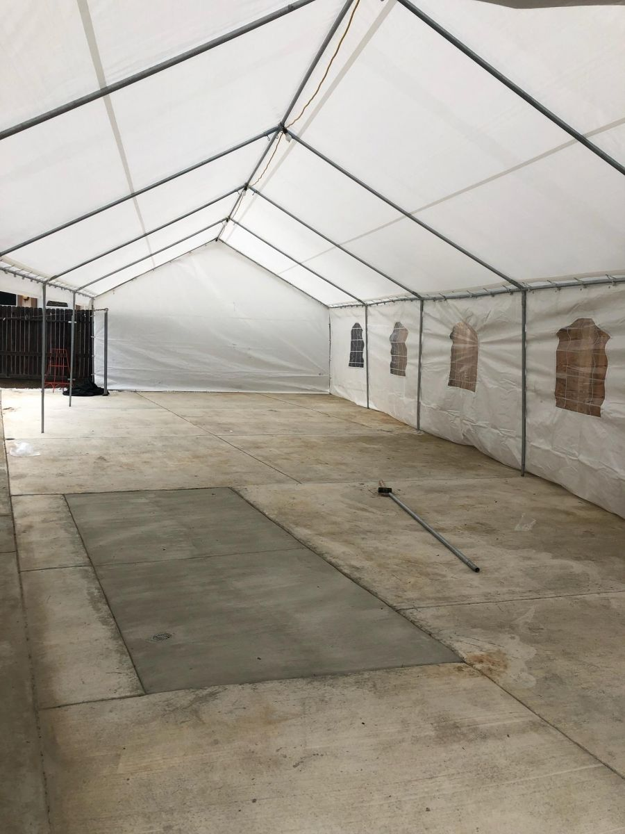 20 x 40 tent setup on concrete