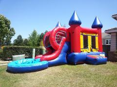 Red Castle Combo slide with pool. Wet or Dry Slide.