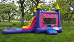 Princess Castle slide with pool and basket ball hoop inside