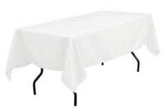 White Table Linen (For 6 feet table) --Does not include table only the cover