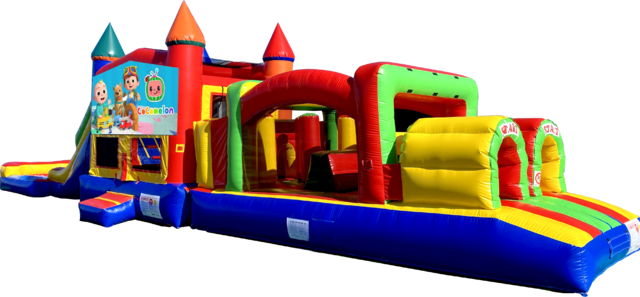 Cocomelon Super Duper Combo inflatable rental outside view from Austin Bounce House Rentals