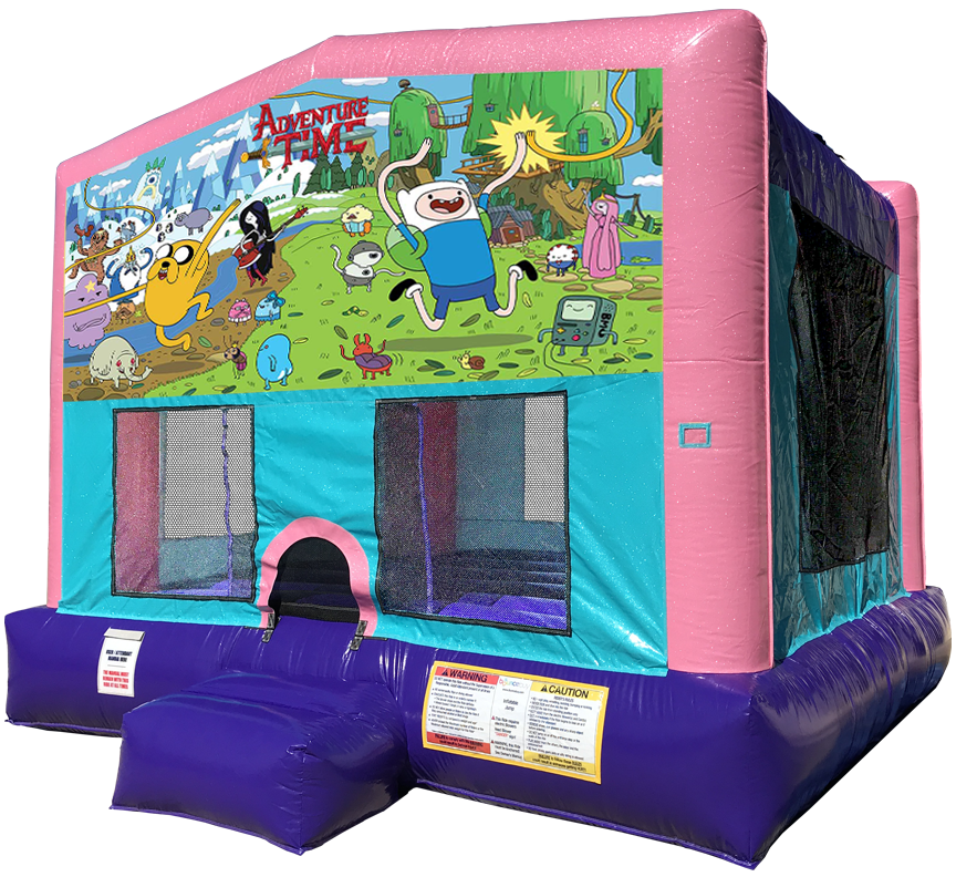 Adventure Time sparkly pink bounce house rental in Austin Texas by Austin Bounce House Rentals