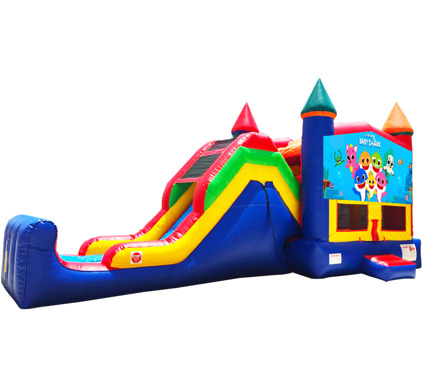 Baby Shark Super Combo 5-in-1 inflatable rentals in Austin Texas by Austin Bounce House Rentals