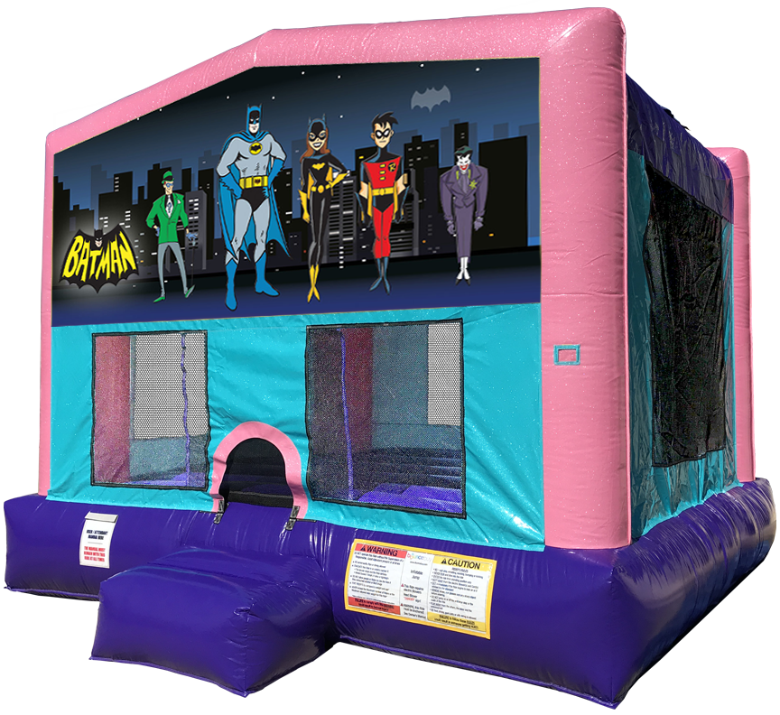 Batman Sparkly Pink Bounce House Rentals in Austin Texas from Austin Bounce House Rentals