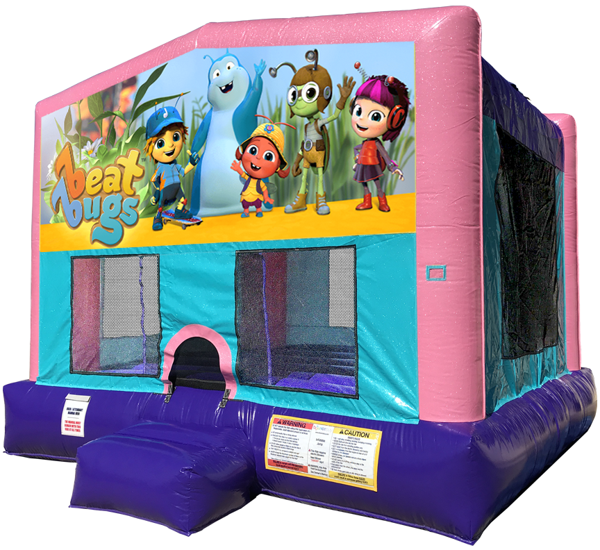 Beat Bugs Sparkly Pink Bounce House Rental in Austin Texas from Austin Bounce House Rentals
