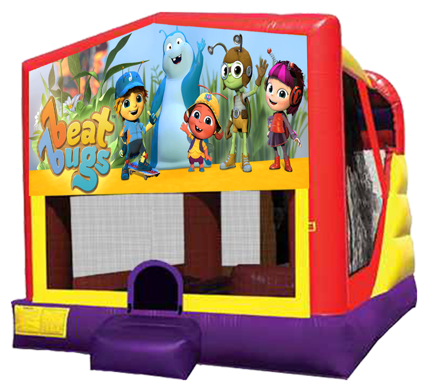 Beat Bugs 4-in-1 Combo with bouncer, climber, slide and basketball hoop for rental in Austin Texas.