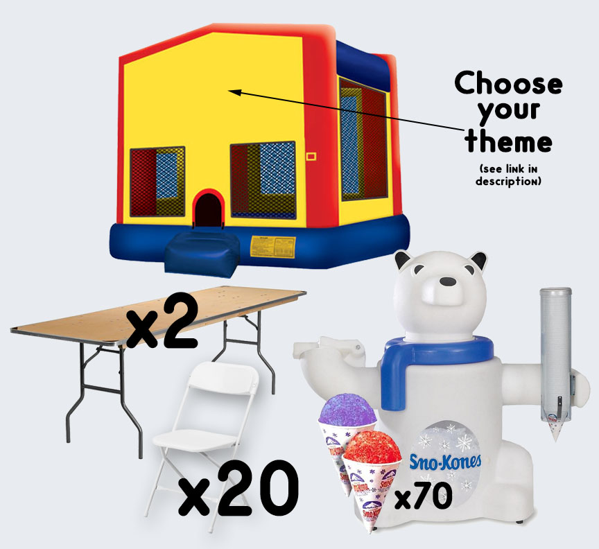 Bounce House Sno-Cone 2 tables and 20 chairs party package rental from Austin Bounce House Rentals