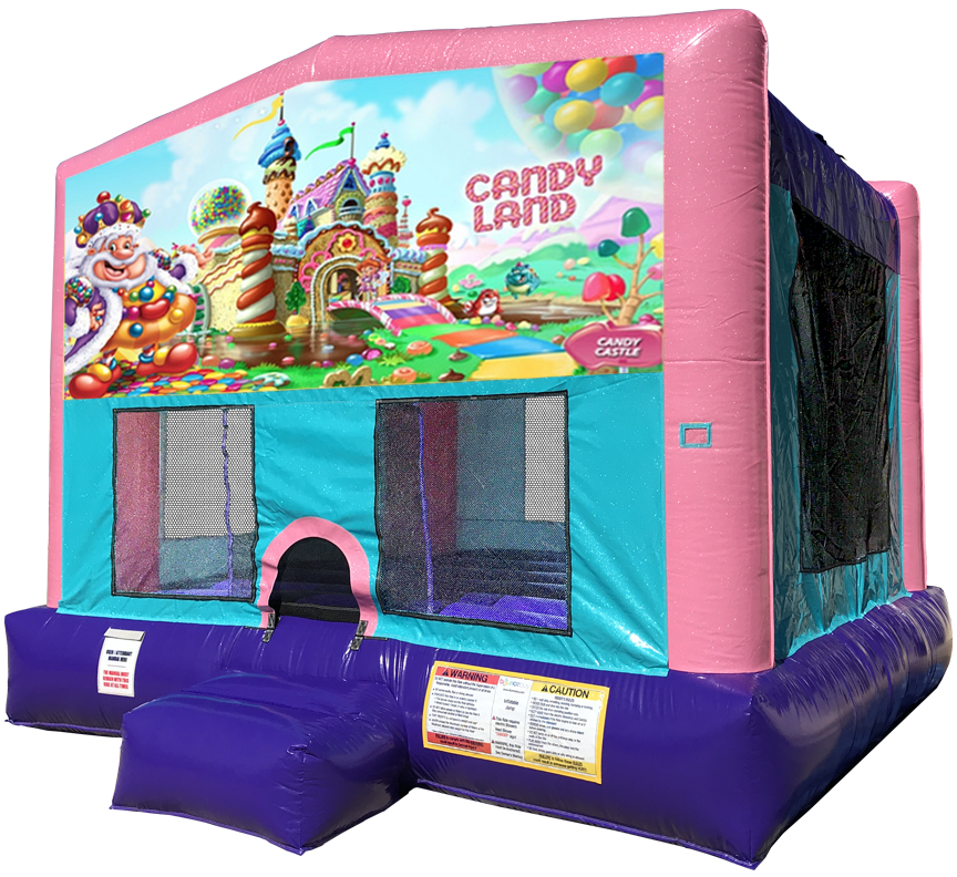 Candy Land Sparkly Pink Bounce House Rentals in Austin Texas from Austin Bounce House Rentals